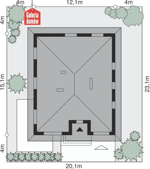 Dom przy Słonecznej 6 - wymiary na działce