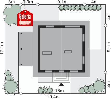 Dom przy Cyprysowej 27 - wymiary na działce