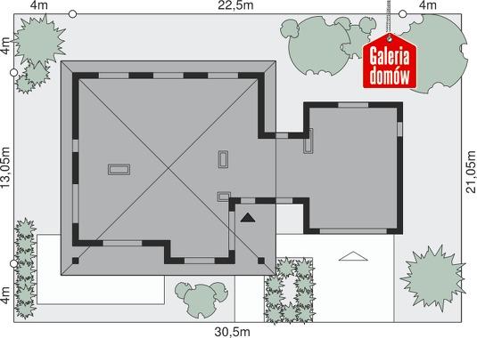 Dom przy Makowej 2 - wymiary na działce