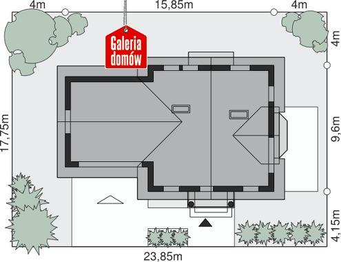 Dom przy Cyprysowej 28 - wymiary na działce
