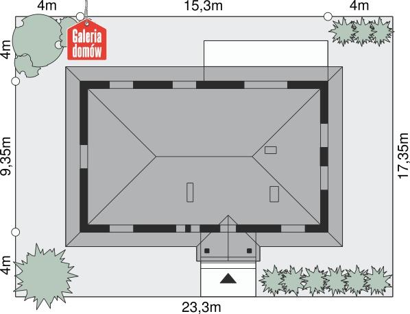Dom przy Bukowej 2 - wymiary na działce