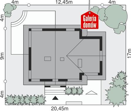 Dom przy Cyprysowej 29 - wymiary na działce