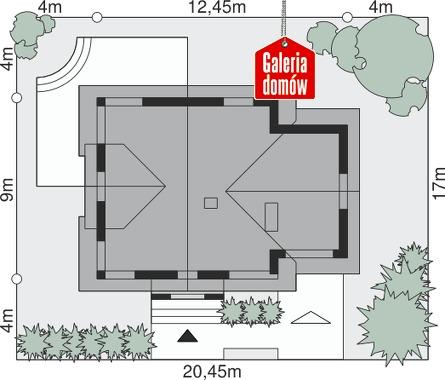 Dom przy Cyprysowej 30 - wymiary na działce