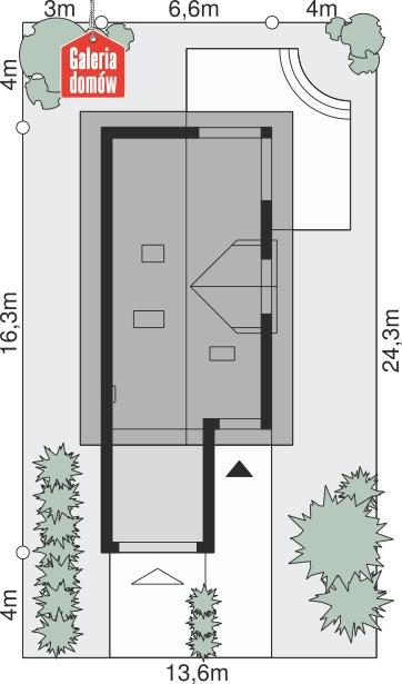 Dom przy Migdałowej - wymiary na działce