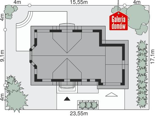 Dom przy Modrzewiowej 11 - wymiary na działce