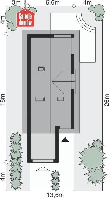 Dom przy Migdałowej 2 - wymiary na działce