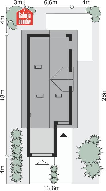Dom przy Migdałowej 3 - wymiary na działce