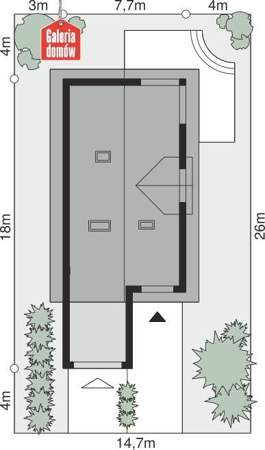 Dom przy Kolorowej - wymiary na działce