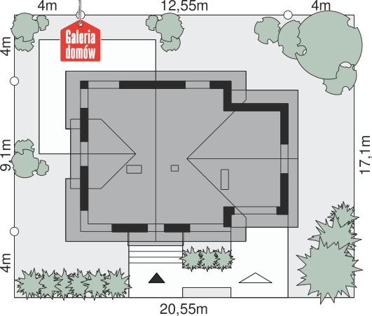 Dom przy Cyprysowej 33 - wymiary na działce