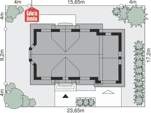Dom przy Modrzewiowej 12 - wymiary na działce