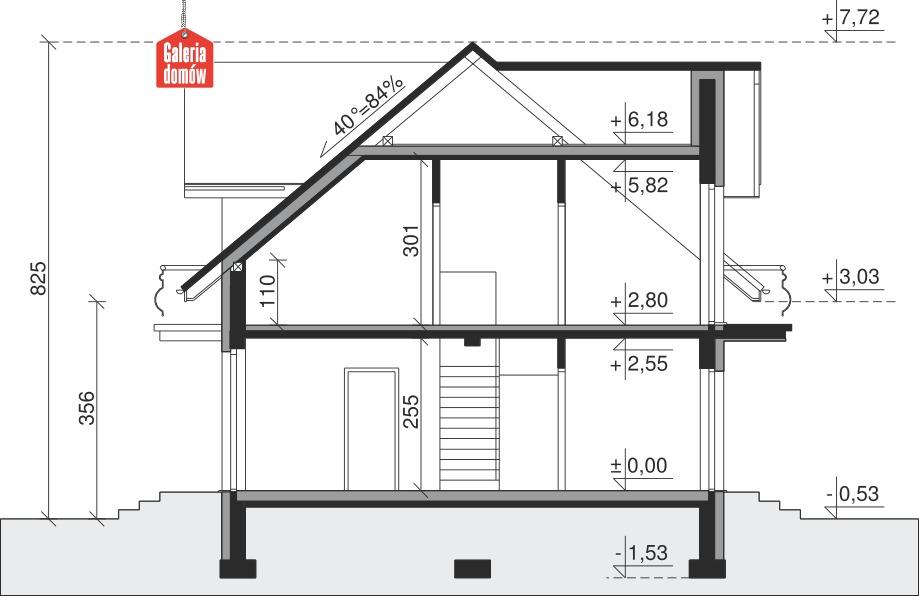 Dom przy Modrzewiowej 14 - przekrój