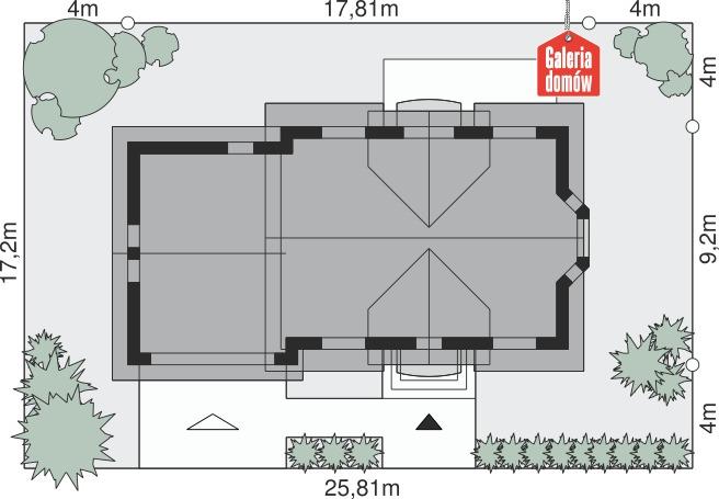 Dom przy Modrzewiowej 14 - wymiary na działce