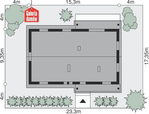 Dom przy Bukowej 5 - wymiary na działce