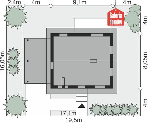 Dom przy Topolowej 2 - wymiary na działce