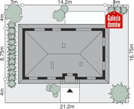 Dom przy Klonowej 2 - wymiary na działce