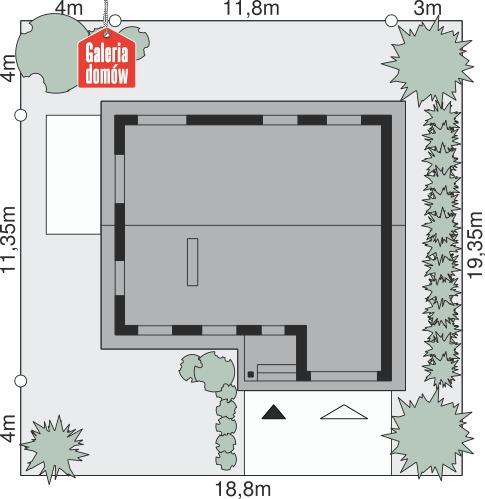 Dom przy Przyjemnej 3 - wymiary na działce