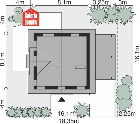 Dom przy Cyprysowej 34 - wymiary na działce