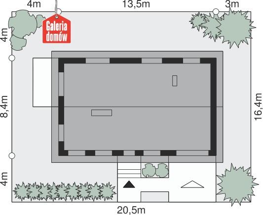 Dom przy Przyjemnej 11 - wymiary na działce
