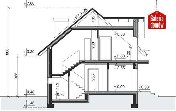 Dom przy Alabastrowej 8 - przekrój