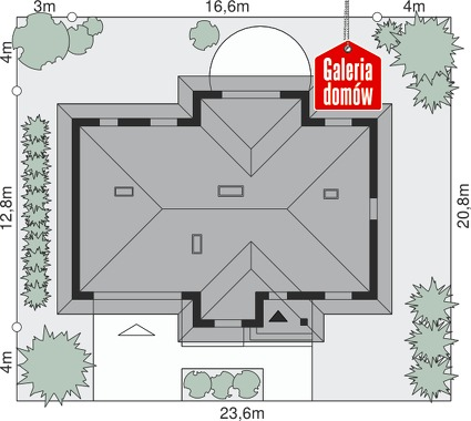 Dom przy Sadowej 2 - wymiary na działce