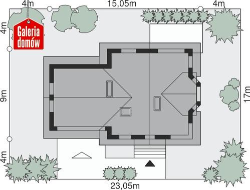 Dom przy Przyjaznej 10 - wymiary na działce