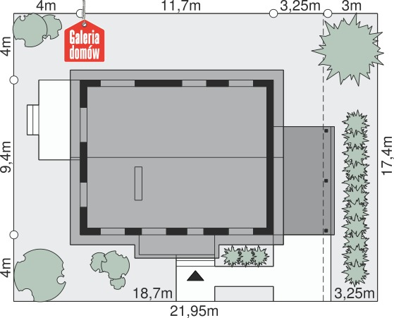 Dom przy Przyjemnej 2 bis - wymiary na działce