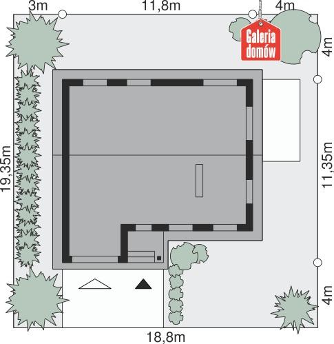 Dom przy Przyjemnej 3 bis - wymiary na działce