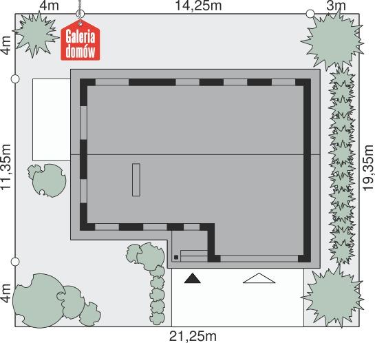 Dom przy Przyjemnej 4 bis - wymiary na działce