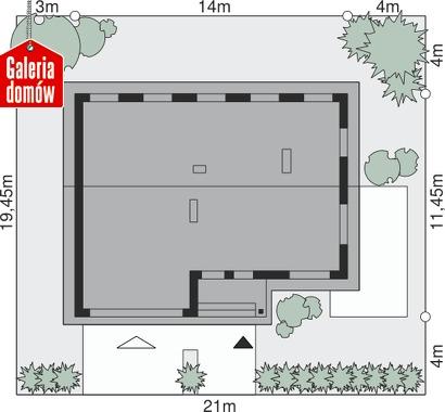 Dom przy Przyjemnej 6 bis - wymiary na działce