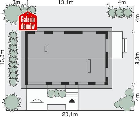 Dom przy Przyjemnej 8 bis - wymiary na działce