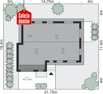 Dom przy Przyjemnej 10 bis - wymiary na działce