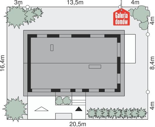 Dom przy Przyjemnej 11 bis - wymiary na działce