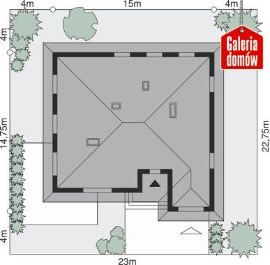 Dom przy Słonecznej 4 bis - wymiary na działce