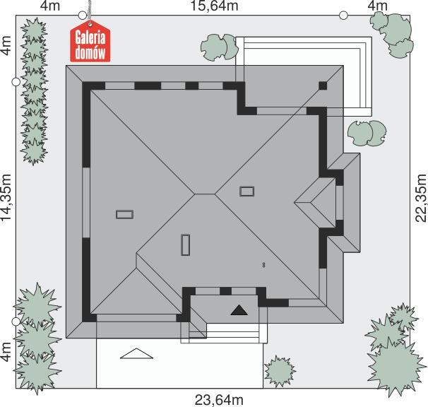 Dom przy Pastelowej 2 bis - wymiary na działce