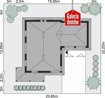 Dom przy Malowniczej 3 NF40 - wymiary na działce