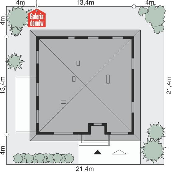 Dom przy Słonecznej 2 bis - wymiary na działce