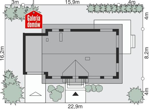 Dom przy Alabastrowej 14 - wymiary na działce