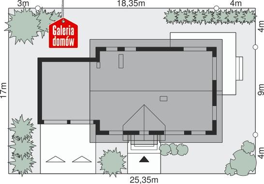 Dom przy Alabastrowej 15 - wymiary na działce