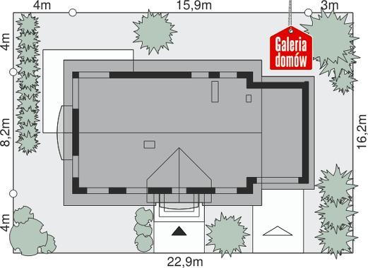 Dom przy Alabastrowej 16 - wymiary na działce