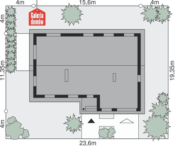 Dom przy Przyjemnej 12 - wymiary na działce
