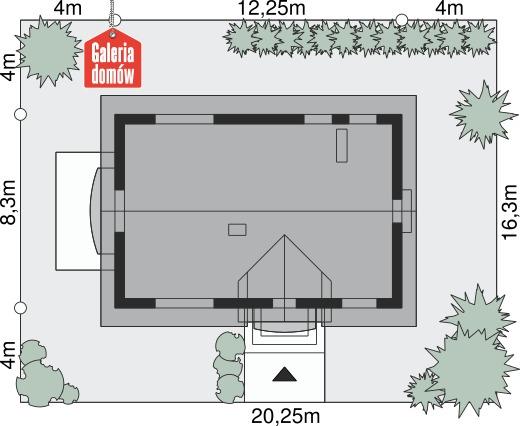 Dom przy Alabastrowej 19 - wymiary na działce