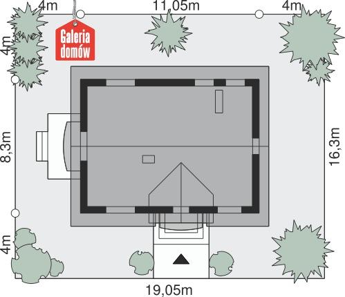 Dom przy Alabastrowej 20 - wymiary na działce