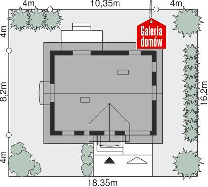 Dom przy Alabastrowej 23 - wymiary na działce
