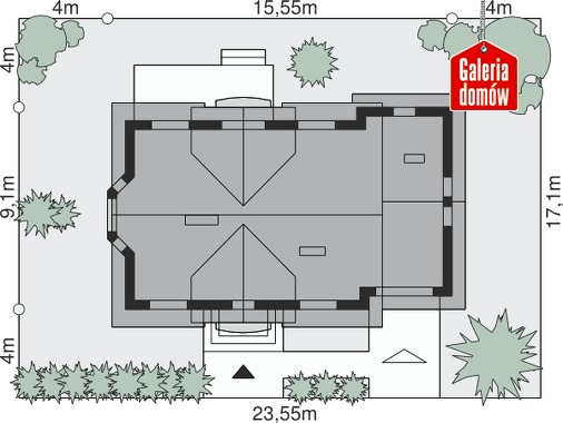 Dom przy Modrzewiowej 3 - wymiary na działce