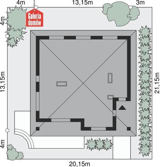 Dom przy Makowej 3 bis - wymiary na działce