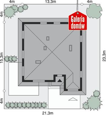 Dom przy Słonecznej 3 bis - wymiary na działce