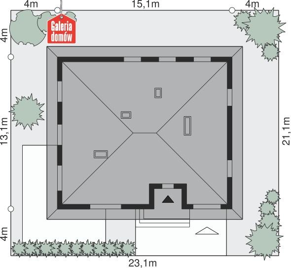 Dom przy Słonecznej 5 bis - wymiary na działce