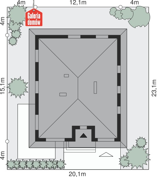 Dom przy Słonecznej 6 bis - wymiary na działce