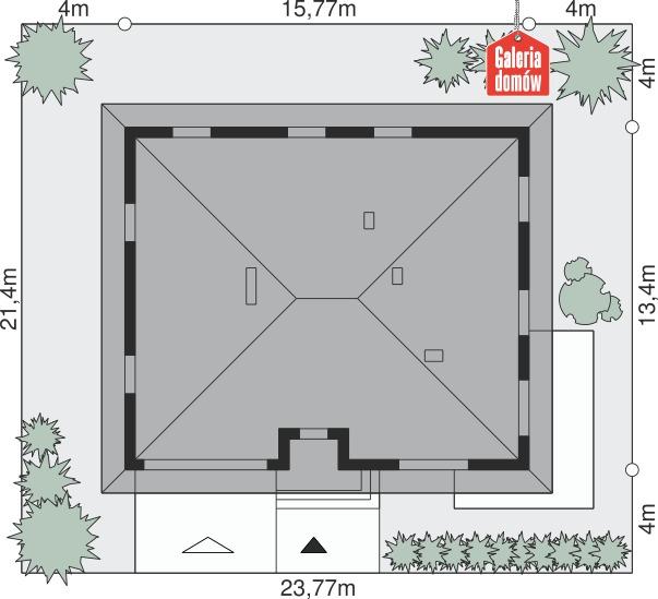 Dom przy Słonecznej 7 bis - wymiary na działce