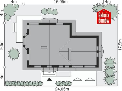 Dom przy Cyprysowej 37 - wymiary na działce
